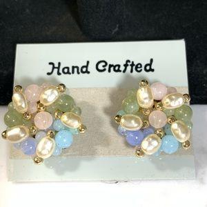 Luster Bead Pierced Earrings